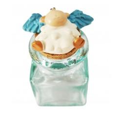 vasetto vetro pecora ali azzurre sdraiata