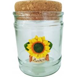 vasi in vetro con tappo in sughero made in italy con girasoli zucchero