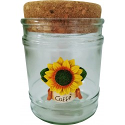 vasi in vetro con tappo in sughero made in italy con girasoli caffè