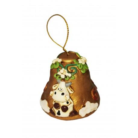 campana natalizia mucca oro
