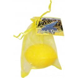 Sacchetto organza con sapone forma e fragranza limone da 100 gr con cartoncino personalizzato