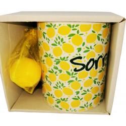 Mug personalizzato con scatola e sacchettino con 1 sapone limone 25 gr